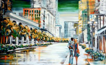 Image de la toile « Evening on McGill College » de Myrtha Pelletier