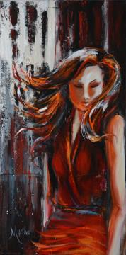 Image de la toile « Lady in red » de Myrtha Pelletier