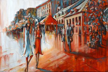 Image de la toile « Place Jacques-Cartier » de Myrtha Pelletier